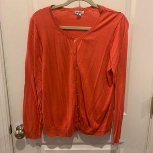 2/$10.     Salmon colored cardigan